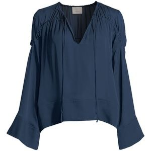 cinq a sept Anatolia Flare-Sleeve Ruched Silk Top